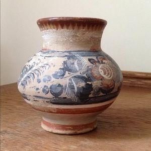 Vintage Mexican Pottery Vase clay floral